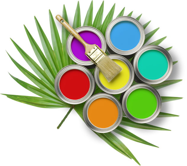 paint cans on palm frond